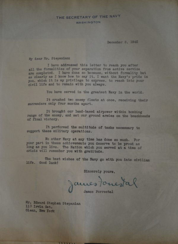 A separation letter to Edward Stepanian signed by Navy Secretary James Forrestal. Credit: The Edward Stepanian Collection courtesy Lynn Stepanian-Smith.