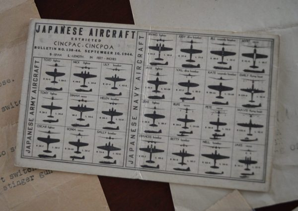A handy pocket card for identifying Japanese aircraft. Credit: The Edward Stepanian Collection courtesy Lynn Stepanian-Smith.