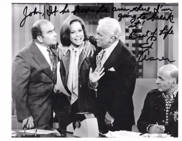 Ed Asner with Mary Tyler Moore, Ted Knight and Gavin MacLeod. (courtesy John W. Flores)