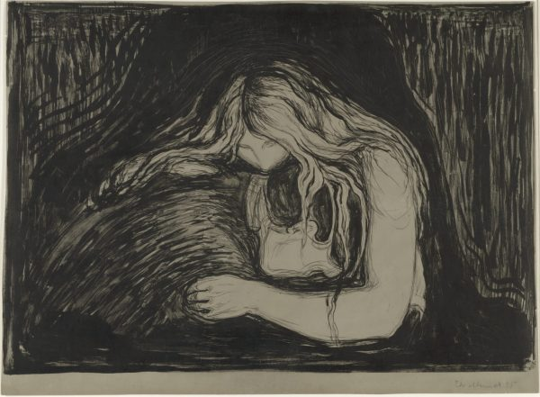 Women Behaving Badly: : 400 Years of Power and Protest at the BMA: Edvard Munch. Vampire.1895. The Baltimore Museum of Art: Board of Trustees Fund. BMA 1954.1© Edvard Munch / Artists Rights Society (ARS), NY / ADAGP, Paris
