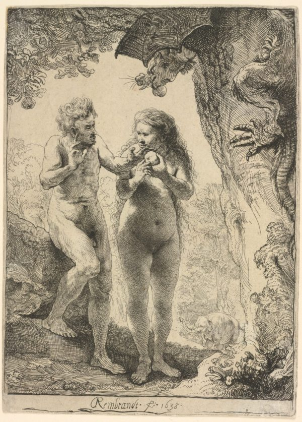 Women Behaving Badly: 400 Years of Power and Protest: Rembrandt van Rijn. Adam and Eve. 1638. The Baltimore Museum of Art: Gift of Alfred R. and Henry G. Riggs in Memory of General Lawrason Riggs.BMA 1943.32.221