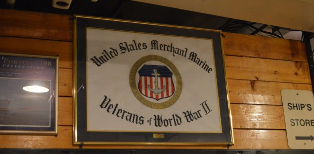 A plaque below deck of the Liberty Ship John W. Brown honors the United States Merchant Marine Veterans of World War II. (credit Anthony C. Hayes)