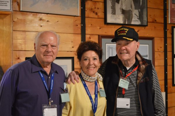 Merchant Marine Vet George Offenhauser (r) was joined aboard the John W. Brown by his son-in-law Vance and daughter Rosalie. (Anthony C. Hayes)
