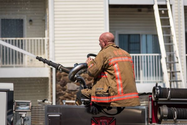 A fire and a possible explosion ripped through an apartment building in the 2400 block of Bytham Court at the Diamond Ridge Luxury Apartment Complex in Windsor Mill, Maryland (Credit Michael Jordan / BPE)