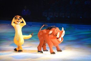 The Lion King's Timon, left, and Pumbaa brought humor to Disney on Ice: 100 Years of Magic.