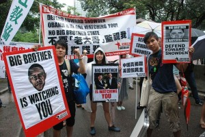 Protesters in Hong Kong rally to support the useful idiot Edward Snowden. (Wikipedia)