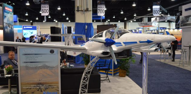 A model of the Aurora Centaur - an optionally piloted aircraft. The model was on display at the 2015 Air Force Association Convention. (credit Anthony C. Hayes)