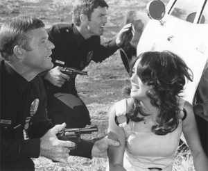 Martin Milner, Kent McCord and Angela Cartwright in a screenshot from Adam-12.