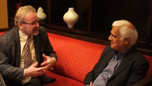 Anthony C. Hayes interviewing Ravi Zacharias. (Doug Christian)