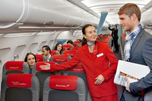 Your trip should make you happy. (photo courtesy Austrian Airlines)