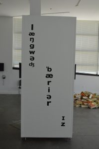 """Language Barrier Is"" at the Babble exhibit in Baltimore. (Anthony C. Hayes)"