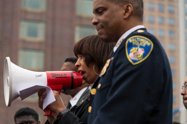 Mayor Catherine E. Pugh and Police Commissioner Darryl De Sousa at Baltimore Gun Violence Protest March 6, 2018. (credit Michael Jordan BPE)