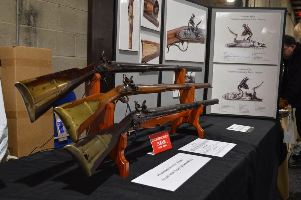 Antique long rifles at the 2018 Baltimore Antique Arms Show. (Anthony C. Hayes)