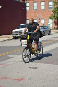 """The ride is great,"" exclaimed Army veteran, Onzea Robinson. (Anthony C. Hayes)"