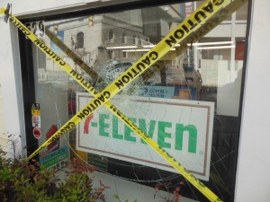A 7-Eleven in West Baltimore attacked by rioters on Monday is now a crime scene. (Anthony C. Hayes)