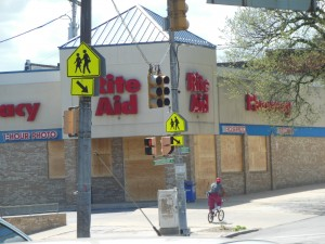 The Rite Aid Pharmacy on North Avenue was just one of the targets of the looters. (Anthony C. Hayes)