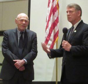 Del. Bob Flanagan, left, receives the Robert Kittleman Lifetime Achievement Award from Howard County Executive Allan Kittleman.