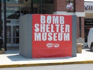 The stark Bomb Shelter Museum at the entrance to the Greenspring Shopping Center.