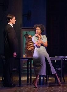Carmen (Christina Sajous) taunts the stoic José (Brandon Andrus). (Stan Barouh)