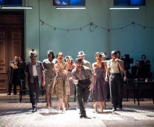 The ensemble of CARMEN: AN AFRO-CUBAN JAZZ MUSICAL directed by Moisés Kaufman, choreography by Sergio Trujillo (photo: Stan Barouh)
