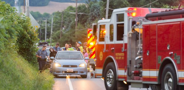 June 12, 2018, Westminster, MD - Max Nickey, President of the newly formed Carroll County Professional Fire Fighters and Paramedics IAFF Local tends to an accident scene on Bachmans Valley Road in Westminster. (BPE Staff Photographer)