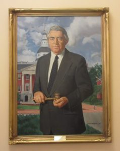 This portrait of Sen. James Clark Jr. hangs with those of other Senate presidents in the foyer of the James Senate Office Building in Annapolis. Photo by Len Lazarick