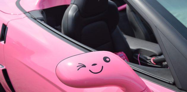 Tracie Jones pink Corvette at Corvettes at Carlisle. (Anthony C. Hayes)