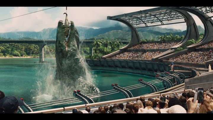 The dinosaurs, including the Mosasaurus, are the stars of Jurassic World. (Universal Pictures)