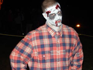 Would you even think about disobeying this guy as you wait to shoot zombies at Field of Screams Maryland? (Jon Gallo)
