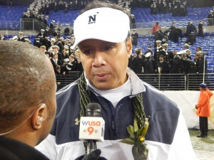 Navy Coach Ken Niumatalolo, who replaced Paul Johnson at the end of the 2007 season, became the school's all-time winningest coach on Saturday with a record of 56-35, topping the mark set by George Welch (55-46-1) from 1973-1981. Navy's been playing football for 133 years. (Jon Gallo)