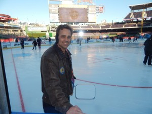 Columnist Chris Swanson was all smiles after accepting the NHL's invitation that let media members skate on the rink that was build at Nationals Park to host the Winter Classic between the Capitals and Blackhawks on Jan. 1. (Jon Gallo)