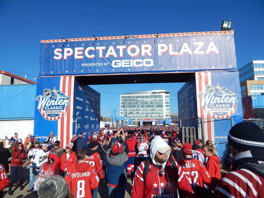 Thousands of fans participated in free games and photo opportunities at the Spectator Plaza, which was across the street from Nationals Park. (Jon Gallo)