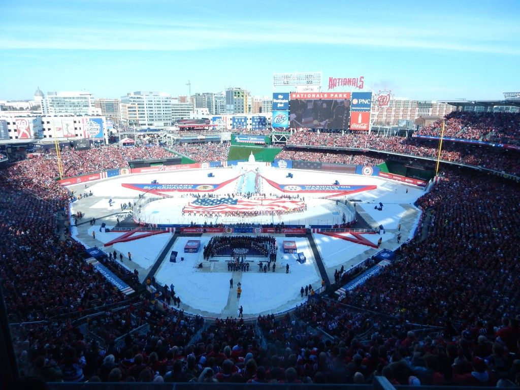 Nationals Park was converted into an NHL arena, complete with a replica Capitol Building and reflecting pool. (Chris Swanson)
