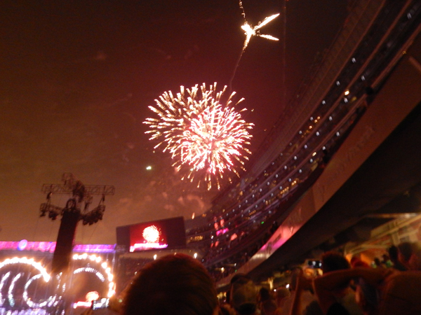 Fans were treated to fireworks during a 45-minute break between sets on Sunday.