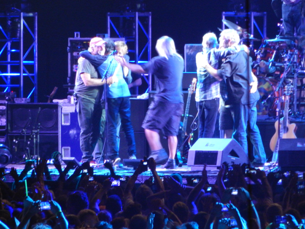 After 50 years, the Grateful Dead ended its final concert the only way it could: with a group hug.