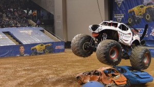 Did you think a couple of cars could stop a monster truck?