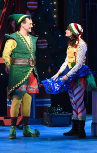 David Schlumpf as Buddy and Patricia Hurley as Jovie in ELF THE MUSICAL at Olney Theatre Center. (Photo: Stan Barouh)