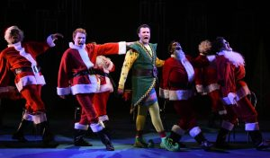 David Schlumpf as Buddy the Elf and the ensemble of ELF THE MUSICAL at Olney Theatre Center. (Photo: Stan Barouh)