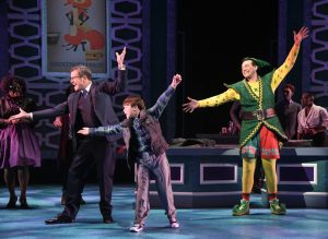Bobby Smith as Walter Hobbs, Tyler Quentin Smallwood as Michael Hobbs and David Schlumpf as Buddy the Elf in ELF THE MUSICAL at Olney Theatre Center. (Photo: Stan Barouh)
