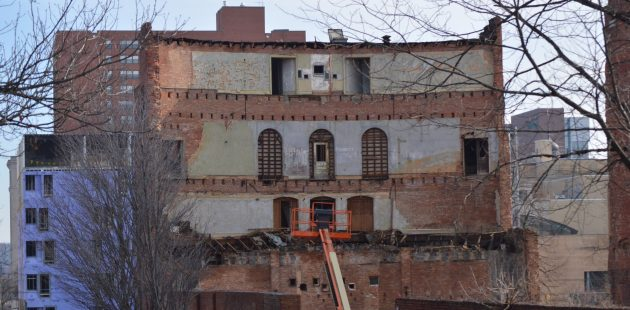 A view from the rear of the stabilized facade of the Mayfair Theatre in Baltomre, Maryland. (Anthony C. Hayes)
