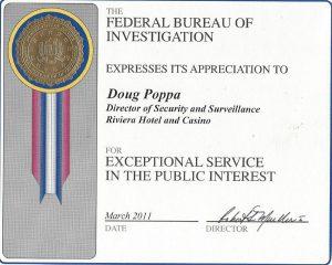 A citation from the F.B.I. to Doug Poppa