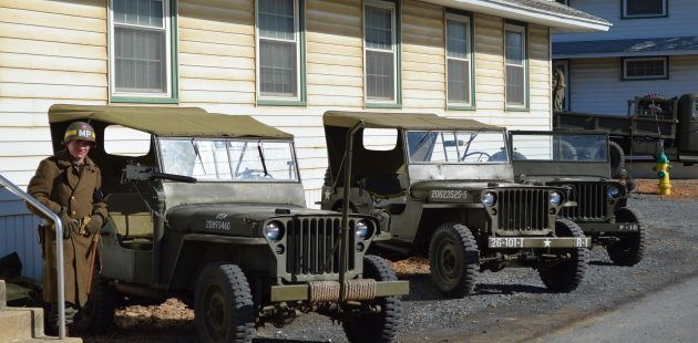 WWII-era jeeps sit idle at the 2018 WWII Historical Association's annual Battle of the Bulge Commemoration at Fort Indiantown Gap, PA. credit Anthony C. Hayes