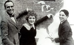 World War I era Hollywood stars Douglas Fairbanks, Mary Pickford and Charlie Chaplin on a Liberty Loan drive. The trio crisscrossed the United States in 1918 to raise money for the war effort.