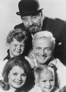 Kathy Garver (bottom left) with her co-stars of Family Affair, Brian Keith (center), Sebastian Cabot (back), Johnny Whitaker, and Anissa Jones.