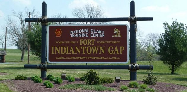 The post sign at Fort Indiantown Gap
