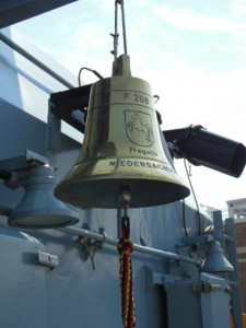 The ship's bell is also used as a baptismal font. (Anthony C. Hayes)
