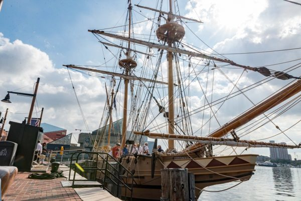 A recreation of the sip Godspeed at dock in Baltimore, MD. for the 2018 Maryland Fleet Week. There were 52 people aboard the Godspeed when it set sail for Virginia in 1606. (Michael Jordan / BPE)