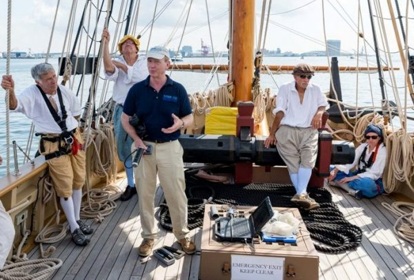 Dr. Richard Snyder: Director of the Eastern Shore Lab for the Virginia Institute of Science, talks about the scientific studies he is currently conducting while sailing aboard Godspeed. Godspeed is Baltimore for the 2018 Maryland Fleet Week. (Michael Jordan / BPE)