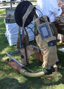 Govenors Island Sept 16, 2018: A gas mask for a horse was on display at Camp Doughboy. (Anthony C. Hayes)