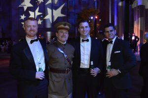 Actor David Shuey (second from left) in A photo-op with General Pershing at the Great Gatsby Presidential Inaugural Ball. (Anthony C. Hayes)